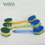 Double-Function waschender Schwamm-Pinsel-Reinigungs-Schwamm-Pinsel mit Griff