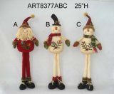 Long Legged Standing Santa Snowman Christmas Decoration, -3sst.