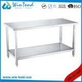 Banco di lavoro solido di rinforzo mensola quadrata della cucina della costruzione robusta dell'acciaio inossidabile del tubo con il piedino registrabile del piedino