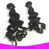 機械二重Weftインドの緩い巻き毛の人間の毛髪の織り方