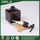 a cor 250ml ambarina esquadrou o frasco cosmético plástico da loção do champô/corpo com o pulverizador da bomba