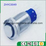 interruptor de tecla do metal de 19mm com luz do diodo emissor de luz e função momentânea/de travamento automático (cabeça lisa elevada)