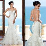 Платье венчания CB2192 шнурка Mermaid мантии венчания спагеттиа Bridal