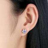 최신유행 입방 지르코니아 자주색 꽃 925 순은 보석 고정되는 목걸이 귀걸이 반지 S925 세트