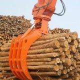グラブのバケツが掘削機の油圧木によっておよび石は取り組む