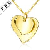 Collana Heart-Shaped di amore del doppio della lega placcata oro