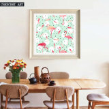 Het Olieverfschilderij van de Kunst van de Muur van de flamingo