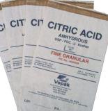 La resina de PVC bolsa de embalaje, ácido cítrico bolsa de papel de embalaje con adhesivo termofusible en boca.