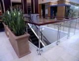 Railing балкона нержавеющей стали высокого качества стеклянный с стеклом 12mm Tempered и столбом нержавеющей стали круглым
