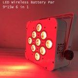 무선 통제 건전지 15wx9 LED 동위 세척 빛
