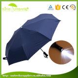 完全なUmbrella Custom Flashlight Handle LED印刷の品質3のフォールドの女性傘