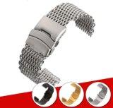 18 20 22 het 24mm Zilveren Zwarte Gouden Vlakke Eind van de Armband van het Netwerk van de Haai van de Draad van de Riem van de band van het Horloge van het Roestvrij staal voor Omega Breitling