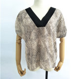 Commerce de gros vêtements femmes dernière conception imprimé court Sleevess Tops