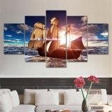 5つのパネルの現代キャンバスは居間のための海ボートの日没の絵画浜の海景のCuadros Decoracionの壁映像を印刷する
