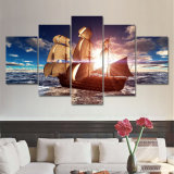 A lona moderna de 5 painéis imprime o retrato da parede de Cuadros Decoracion do Seascape da praia da pintura do por do sol do barco de mar para a sala de visitas