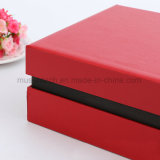 Rectángulo de regalo de papel rojo de gama alta de sellado caliente de la insignia