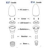 무료 샘플 E14 LED 필라멘트 초 C35 전구