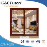 Haut de page du grain du bois de marque porte en verre coulissantes en aluminium avec des grillades
