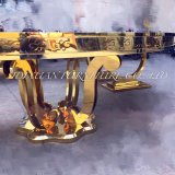 Sの形の結婚式のイベントのステンレス鋼フレームの金のダイニングテーブル