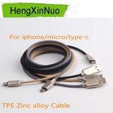 인조 인간 마이크로 컴퓨터 USB 케이블에 의하여 주문을 받아서 만들어지는 TPE 충전기 케이블을%s 신제품 아연 합금 케이블
