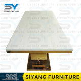 Vector de cena superior de mármol con base metálica del restaurante determinado de los muebles