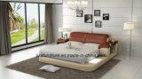 Кровать хранения регулируемой мебели сверстницы итальянская кожаный с СИД