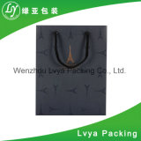 Comercio al por mayor de impresión CMYK personalizados de papel de regalo de lujo negro Bolsa de compras