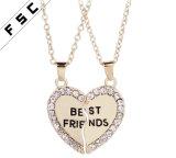 Los mejores amigos para siempre el corazón chapado en oro plata Colgante Collar de cristal