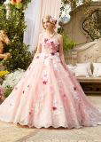 손에 의하여 결혼식 Prom 당 저녁 무도회복 Quinceaner 제작된 꽃 분홍색 파란 복장이 레이스에 의하여 아플리케를 했다