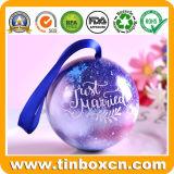 Bola del estaño del metal con la cinta para el rectángulo de empaquetado del regalo de la Navidad