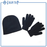 Chapeau de l'hiver et cartel bleus en gros de gant
