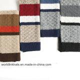 100%のアクリルのジャカードしまのある柔らかい冬の暖かい編まれたスカーフ