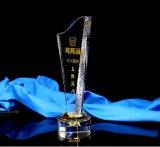 Trofeo de cristal óptico de nuevos diseños, un diseño personalizado para la contribución Premios trofeo de cristal