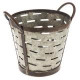 Seau en métal argenté grand pot en métal galvanisé avec étiquette