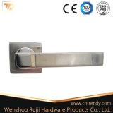 L'aluminium Poignée du levier intérieur de porte en bois sur la rosette (AL011-ZR05)