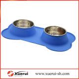 Ciotole dell'animale domestico del silicone, con le doppie ciotole dell'acciaio inossidabile