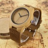 Reloj de madera vendedor superior de la insignia de encargo de bambú de la manera