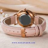 Custom Mesdames montres à quartz de cuir wist, femme de regarder en alliage (WY-17046)