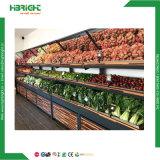 Supermercado fruto de metal de madeira suporte da tela de vegetais com a parte superior do espelho