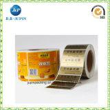Collant auto-adhésif estampé personnalisé d'impression d'étiquette de papier de feuille jaune (jp-s187)