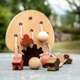 As crianças de madeira formas educativas decoração Árvore Interactive Toddler brinquedo de Threading