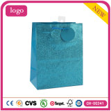 Bolsas de papel revestidas del regalo del arte azul de la manera del brillo