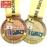 型は旧式な金張りのカスタムロゴのリボンが付いているツーリストの記念品のスポーツ賞の金属の円形浮彫りメダルハンガーを押した