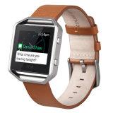 Het echte Frame van het Staal van de Armband van de Riem van de Band van het Horloge van het Leer voor de Manchet van de Uitbarsting Fitbit