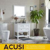 Module moderne en bois de vanité de salle de bains de bassin en céramique blanc en bois solide (ACS1-W75)