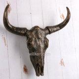 홈 또는 정원 벽 훈장 수지 버팔로 두개골 헤드 동상