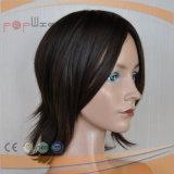Brown corta peluca de pelo humano (PPG-L-01655)