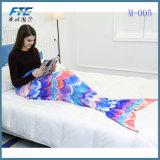 Handmade связанное пряжей одеяло кабеля Mermaid для взрослый малышей