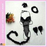 Горячее продавая высокое качество черного женское бельё комбинезона Cosplay зайчика сексуального установленное