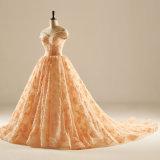 weg von der Schulter, die Spitze-Abschlussball Quincearean Abend-Kleid bördelt